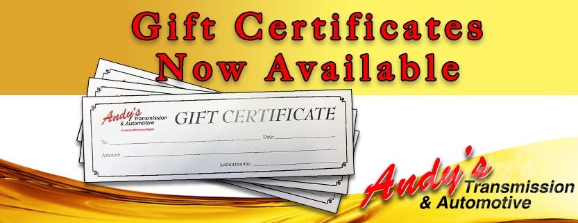 Gift Certificates Andys Transmission Moose Jaw Blog